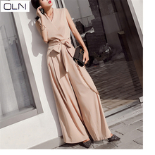 Spring and summer new fashion Korean version of the V-neck waist bow chic wind Siamese high wide leg pants women w