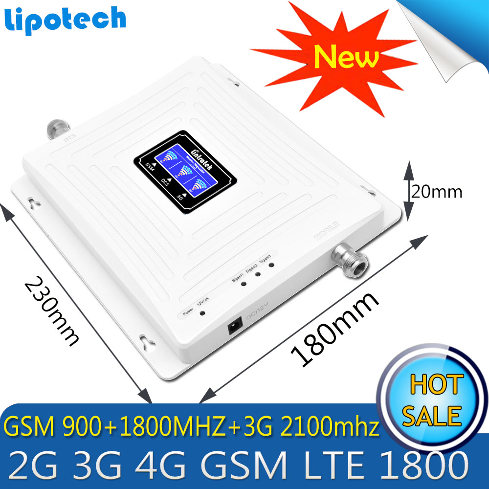 Repetidor Tri Band GSM 900 WCDMA 2100 LTE 1800 2G 3G 4G Signal Booster 65dB Cellphone Cellular GSM Signal Repeater Amplifier