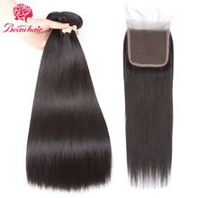 Beau Hair Brazilian Straight Human Hair 2 Bundles With Closure Deals 4×4 Lace With Bundles Non Remy Malaysia Hair Weaving Bundle