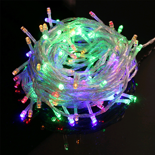 10m Indoor/Outdoor EU Plug Christmas Lights String Led Festival Party Wedding Colorful String Lights Ball Blue/White/Yellow/Red