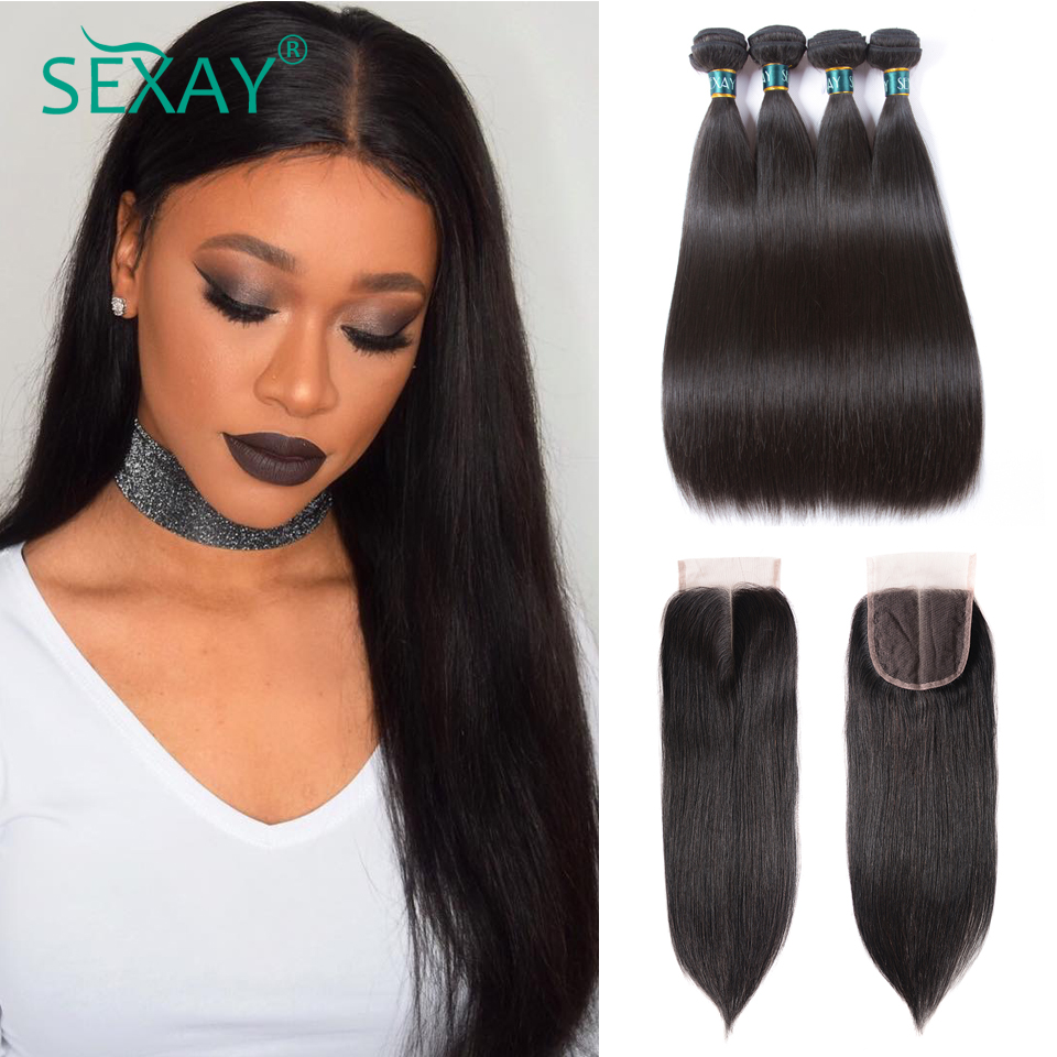 Sexay 4 bundles Brazilian straight hair with closure 5 pcs 100 human hair weave bundles with