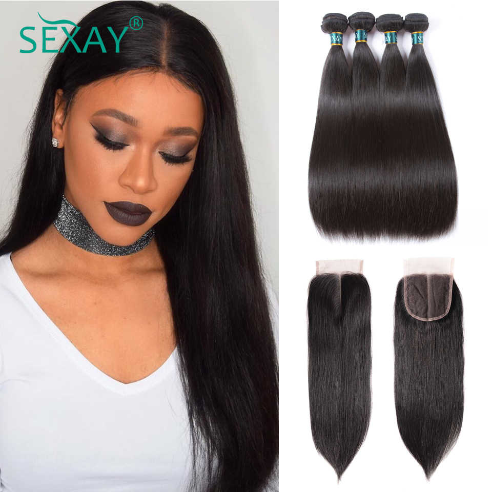 Sexay 4 bundles Brazilian straight hair with closure 5 pcs 100% human hair weave bundles with lace closure factory outlet sell