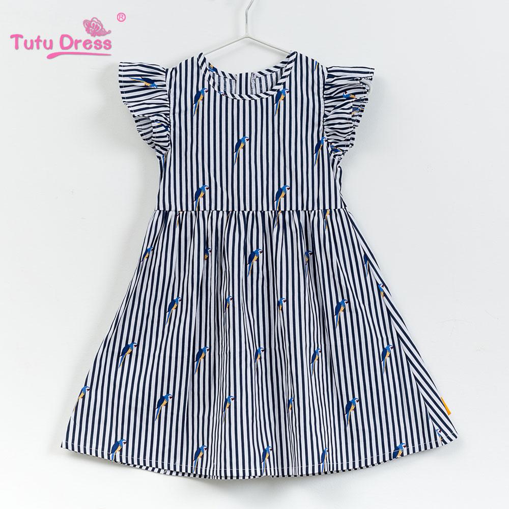 2018 Baby Girl Dress Navy Style Stripe Floral Print Princess Dresses For Designer Formal Party Dress Kids Summer Clothes letter and stripe print glitter dress