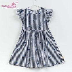 2018 Baby Girl Dress Navy Style Stripe  Floral Print Princess Dresses For  Designer Formal Party Dress Kids Summer Clothes