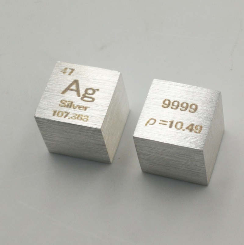 10mm Metal Silver Cube 99.99% Pure Ag Density Cube Specimen For Element Collection Y