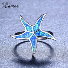 Bamos Female Blue Fire Opal Ring Starfish Ladies Rings 925 S
