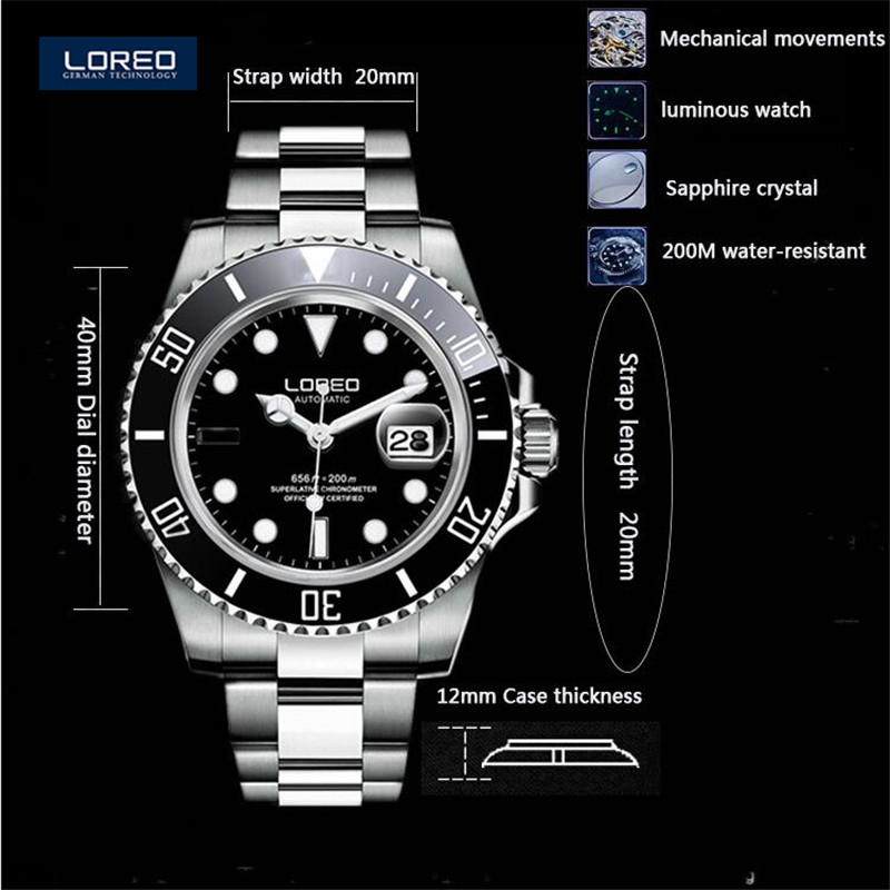 40mm LOREO Luminous Sapphire Glass Automatic Men Diving font b Watch b font Business 200M Waterproof