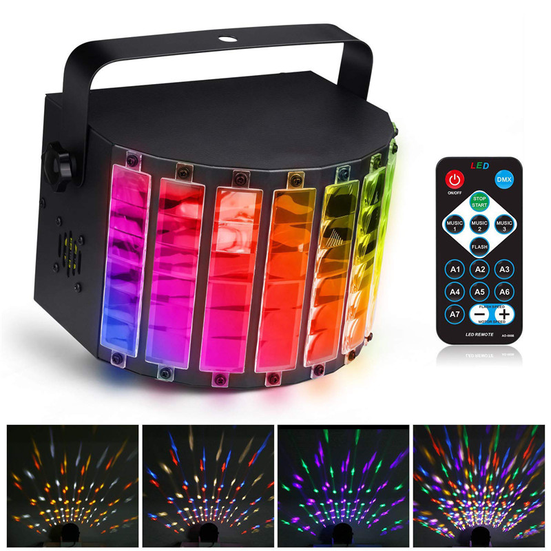 RGBW LED Stage Light Strobe Light DMX512  Auto/Sound Control/DX512 9 Color DJ Disco Lamp +Remote Control US Plug AC90-240V 30W