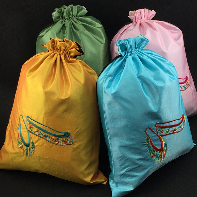 Fine Embroidered Dance Shoe Bag Storage Satin Cloth Drawstring Reusable Dust For Shoes Pouch
