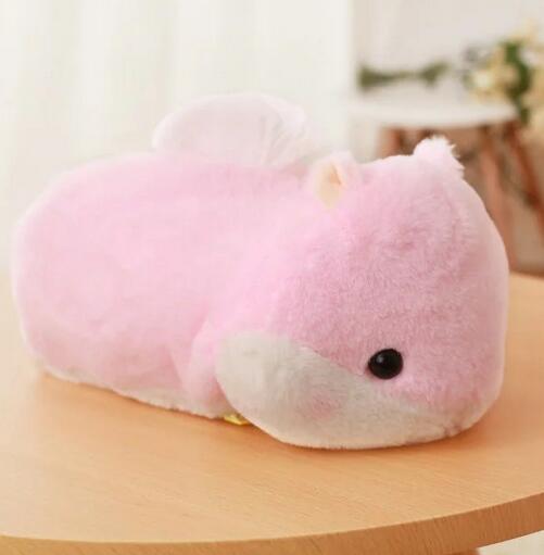 [Bainily]1pc Cute Hamster Plush Tissue Box Soft Staffed Animal Hamster Plush Tissue Cover Creative Home Decoration Lovely Toys