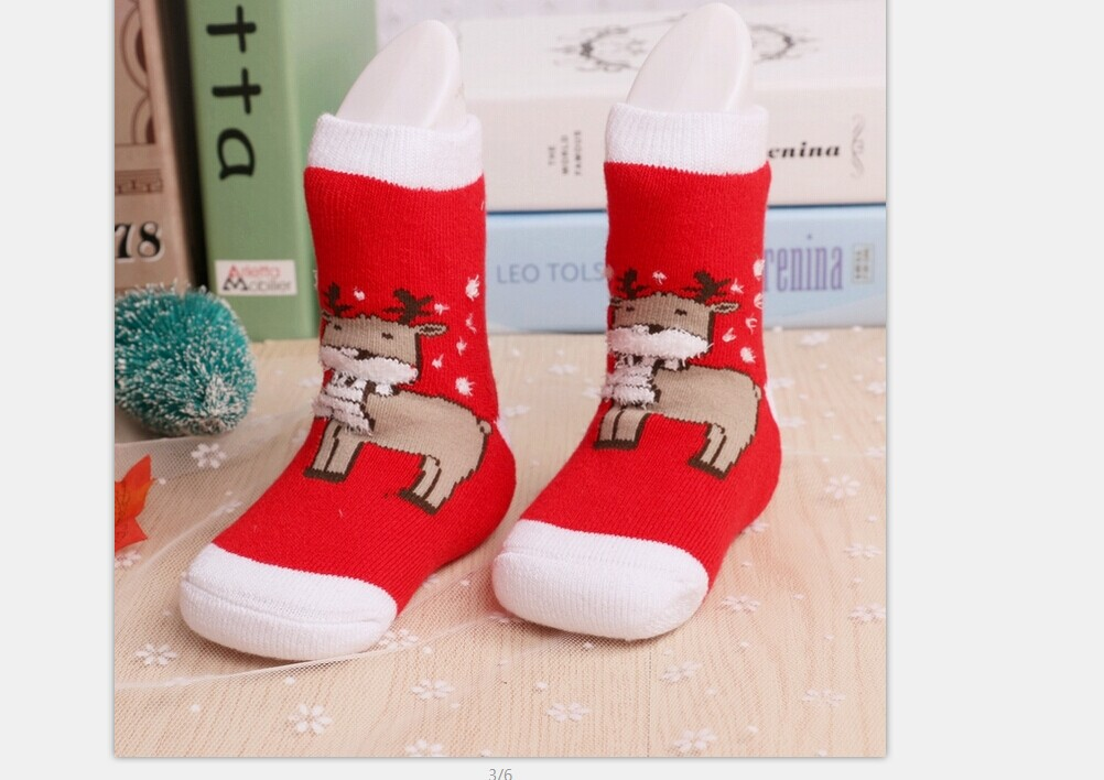 Helen115 Lovely Baby Kids 0-6Y Christmas Gift Santa Claus Deer Warm Cartoon Thick Terry Cotton Socks