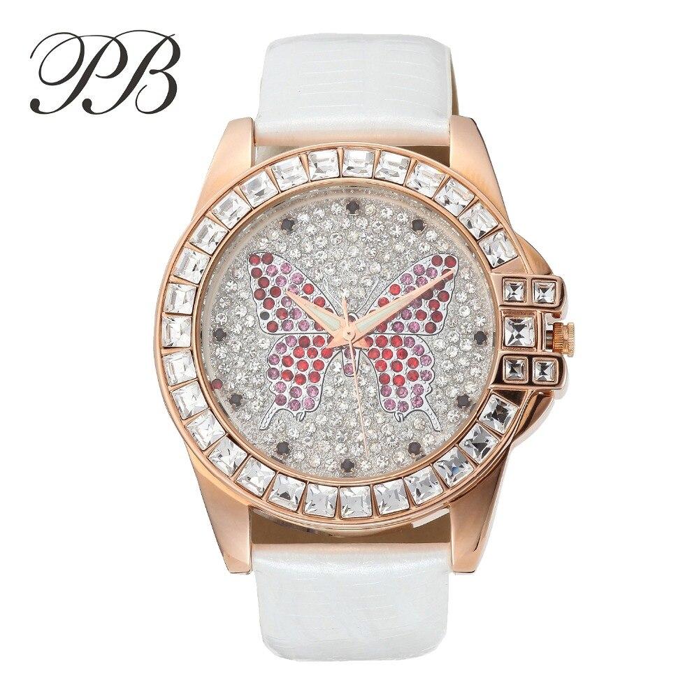 New Arrival Famous PB Brand Princess Butterfly Element Crystal Watch Fashion Girl Luxury Diamond Rhinestone Watch