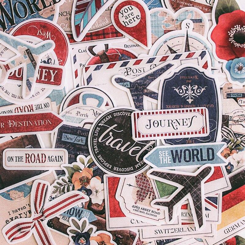 Vintage Stickers DIY Scrapbooking Airplane Travel Flag Set Series Album Journal Card Happy Planner Crafts Decoration Sticker