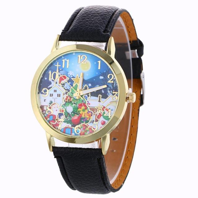 MALLOOM Watches men Fashion Watches Christmas Pattern Leather Quartz watch Montr