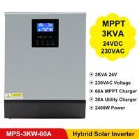 Venta PowMr MPPT inversor híbrido Solar de los diputados 3KVA 2400W 24VDC 220VAC 24V 60A MPPT Cargador