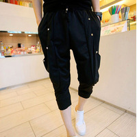 Idopy Mens Korean Punk Fashion Gothic Style Harem Pants Calf-Length Studded Loose Fit Drop Crotch Trousers For Man