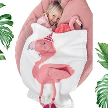 Cute Flamingo Animal Acrylic Throw Blanket Sofa Bed Car Travel Solid Manta Wool Thread Knitted Christmas Children Gift