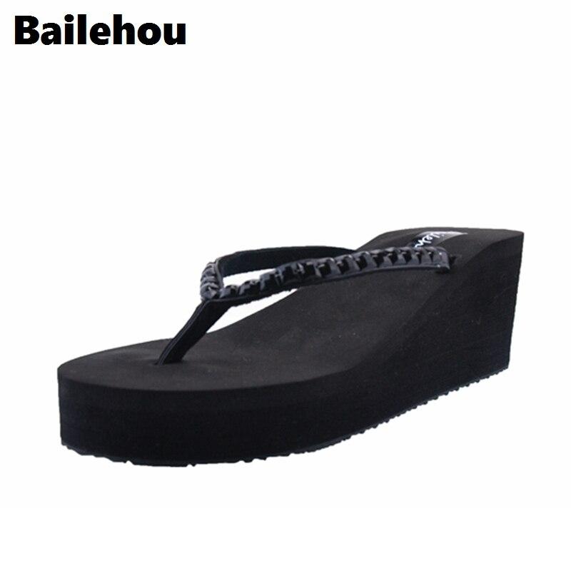 Bailehou Fashion Women Slippers Wedges Flip Flops Sandals Beach Slip On Slides String Bead Lady Shoes Platform Eva Comfortable