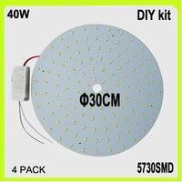 Toptan DIY yüklemek 120 LED yüzey monte 40 W LED dairesel panel PCB disk dia30cm sıcak beyaz serin beyaz LED dairesel tüp