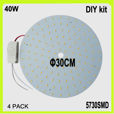 Venta al por mayor DIY 120 LED de superficie montada 40W LED circular panel PCB disco dia30cm blanco cálido frío blanco LED tubo circular