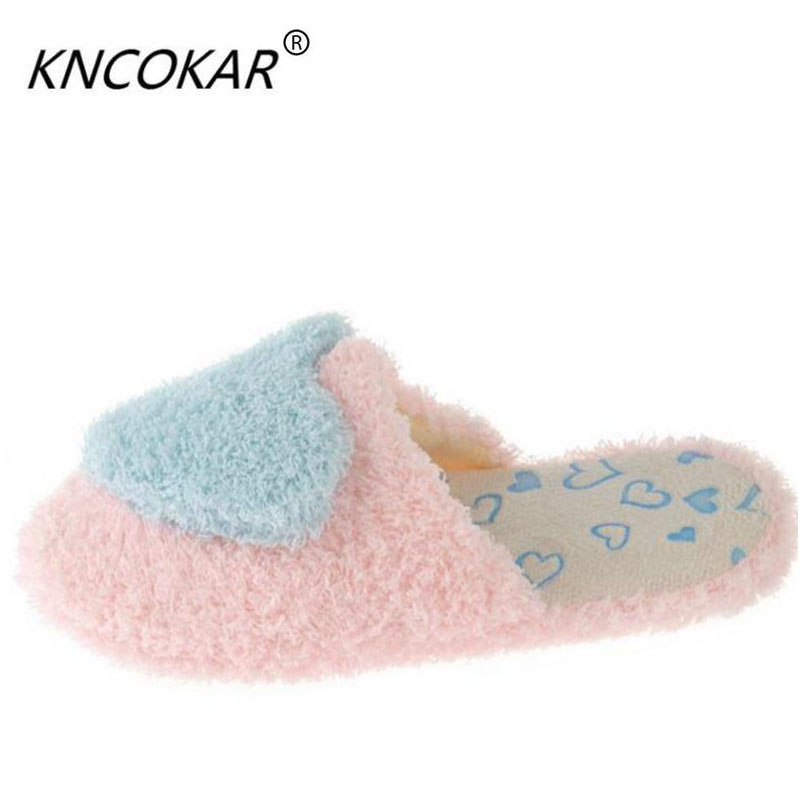 2017 Warm Slippers Women Winter Indoor Shoes Heart Shaped Soft Plush Pantufa Cute Design Ladies Home House Floor Slippers недорго, оригинальная цена