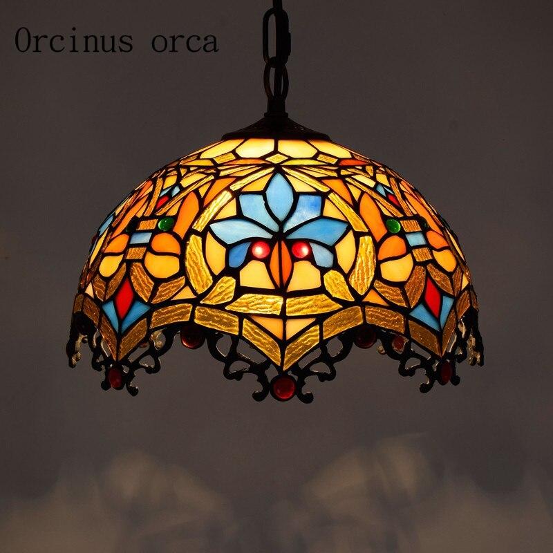 Европейский стиль Творческий цветного стекла люстра ресторан спальня балкон бар Средиземноморский цвет стекло, резьба подвесной светильн...