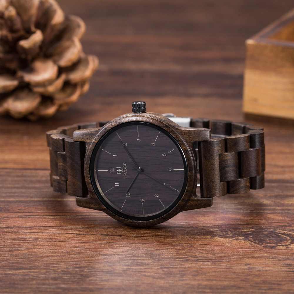 2019 relojes de madera Uwood relojes de pulsera de madera para hombres relojes de pulsera de madera Japón Move' reloj de madera de cuarzo 2035 reloj de madera para hombres reloj masculino