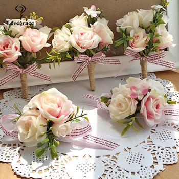 Lovegrace Wrist Corsage Bridesmaid Sisters Hand flowers Artificial Bride Flowers For Wedding Dancing Party Decor Bridal Prom