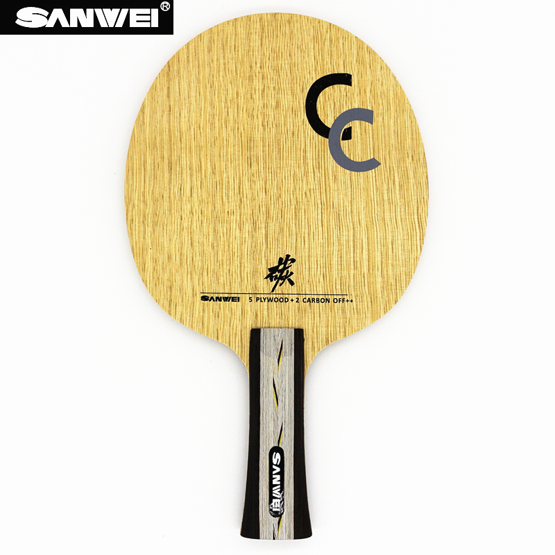 Sanwei cc ténis de mesa lâmina 5 madeira + 2 carbono fora + treinamento sem caixa raquete ping pong bat paddle tenis de mesa