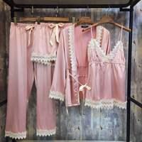 Woman Pijama Feminino Pyjamas Summer Spring Satins Pajamas Suit Lady Pyjama Four Piece Set Sleepwear Nightwear Female Pajama