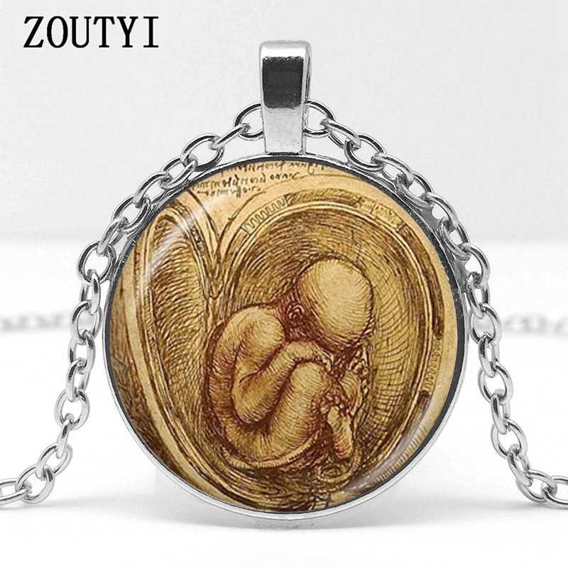 2018 ทารกในครรภ์สร้อยคอ Leonardo วาดจี้ศิลปิน doctor midwife ตั้งครรภ์แม่จี้เด็ก birthing สร้อยคอเครื่องประดับหญิง