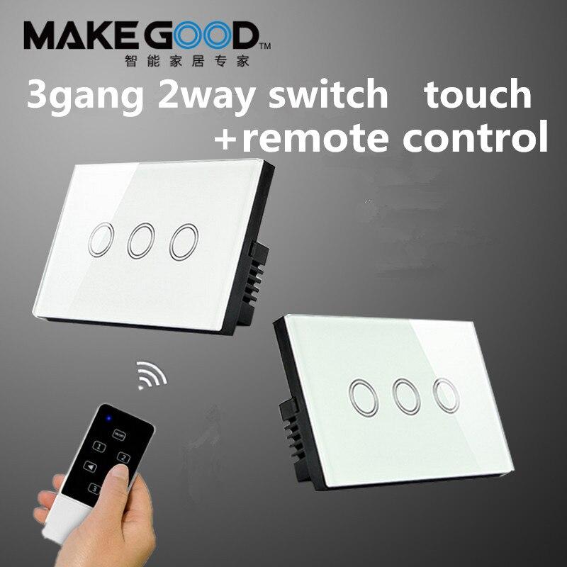 Norme US/Au LED RF433 domotica interrupteurs muraux à télécommande, interrupteur mural sans fil à 3 voies à 2 voies en verre cristal