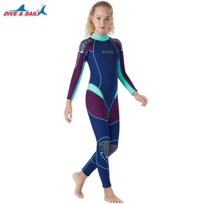 2019 combinaisons Premium 2.5mm néoprène à manches longues combinaison complète dos Zip Surf maillot de plongée pour enfant jeunesse adulte enfants garçons fille
