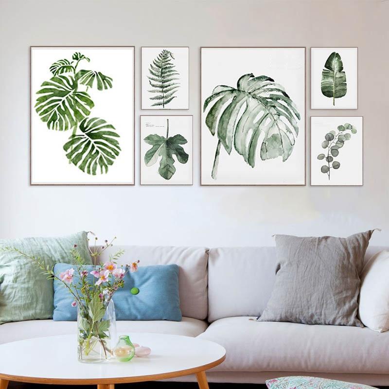 постеры для интерьера листья подоконнике
