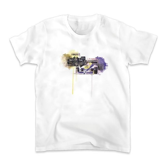 1986 Hungria Nelson Piquet Deriva ultrapassagens Ayrton Senna cena t homens da camisa do novo branco tshirt homme casuais plus size TEE camisa