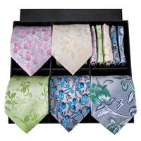 Hi Tie 2018 New Arrival 100% Silk Neckties For Men Ties Hanky Cufflinks Sets Floral Pattern Box Set For Wedding Party