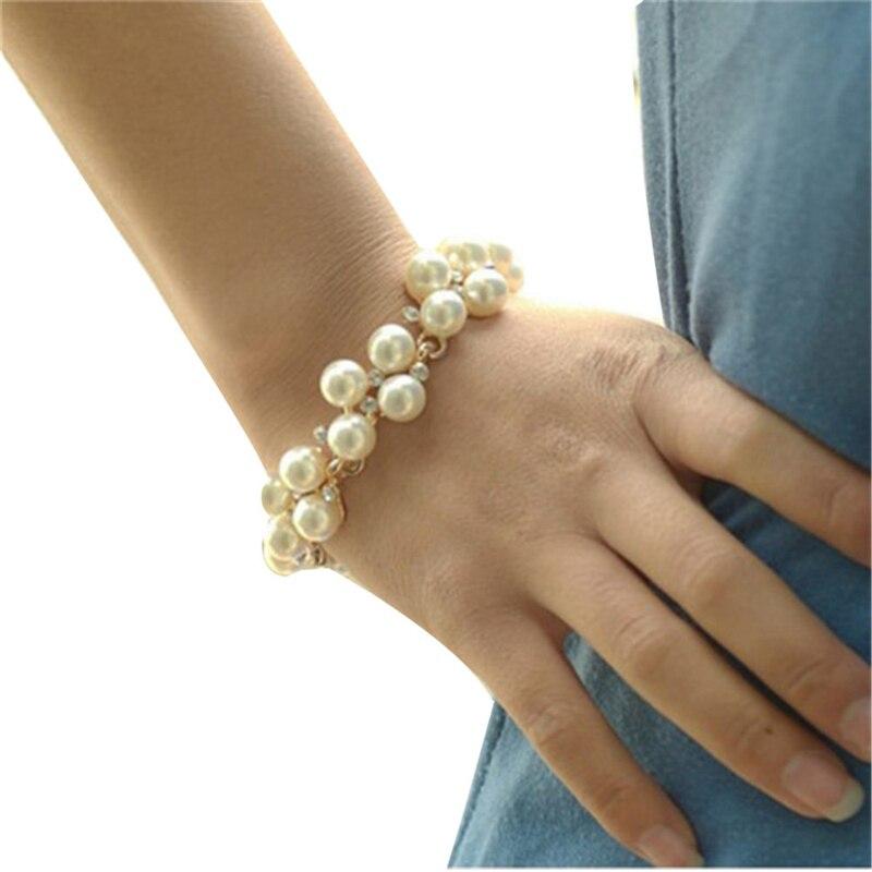 Trendy Elegant Luxury Round Simulated Pearl Bracelet Women Chain Rhinestone Adjustable Charm Accessories 2017