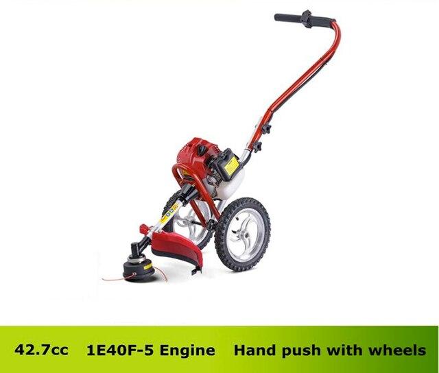 Herramienta para el jardín profesional 43cc Gasolina corte sierra de Mano Empuje Desbrozadora de Ruedas portátil
