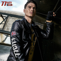 77City Killer Letter Men Military Leather Jackets New Arrive Autumn Winter Pu Jacket Motorcycle Coat Male