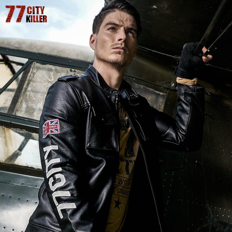 77City Killer Letter Men Military Leather Jackets New Arrive Autumn Winter Pu Jacket Motorcycle Coat Male Casaco Masculina J2607