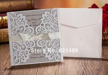 White With Ribbon Wedding Invitation Cards , Laser Cut Wedding Invitation - Set of 50