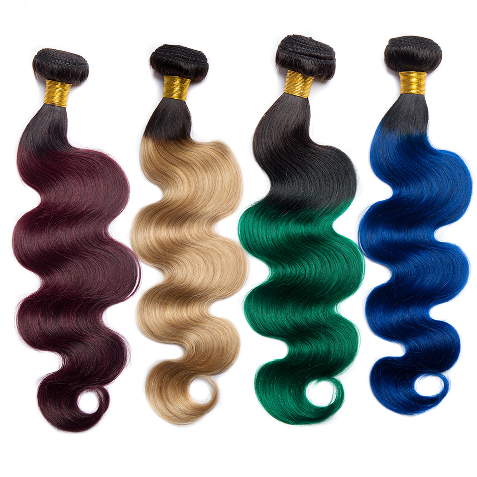 ALIBELE HAIR Ombre Hair Bundles Body Wave Burgundy Red Green Blue Blonde Pre Colored Human Hair Bundles Remy Hair Extensions