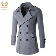 Tang cool 2018NEW Men's Spring Autumn Overcoat for man wool & blends double breasted peacoat trench coat men Slim fit(China)