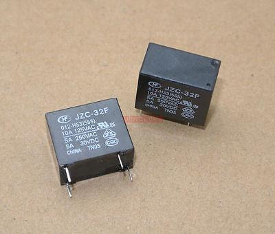 10pcs Power relay SPST 5A 250VAC 12V Coil JZC 32F 012 HS3 555  HONGFA