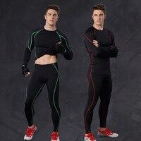 Для мужчин спорта фитнес-комплекты [Топ и леггинсы] футболки с длинными рукавами брюки быстросохнущие эластичные компрессионные брендовая ...