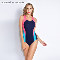 2017 Popular Sport Style One Piece Swimsuit Summer Padding Solid Patchwork Swimwear Women Fight Color Bodysuits
