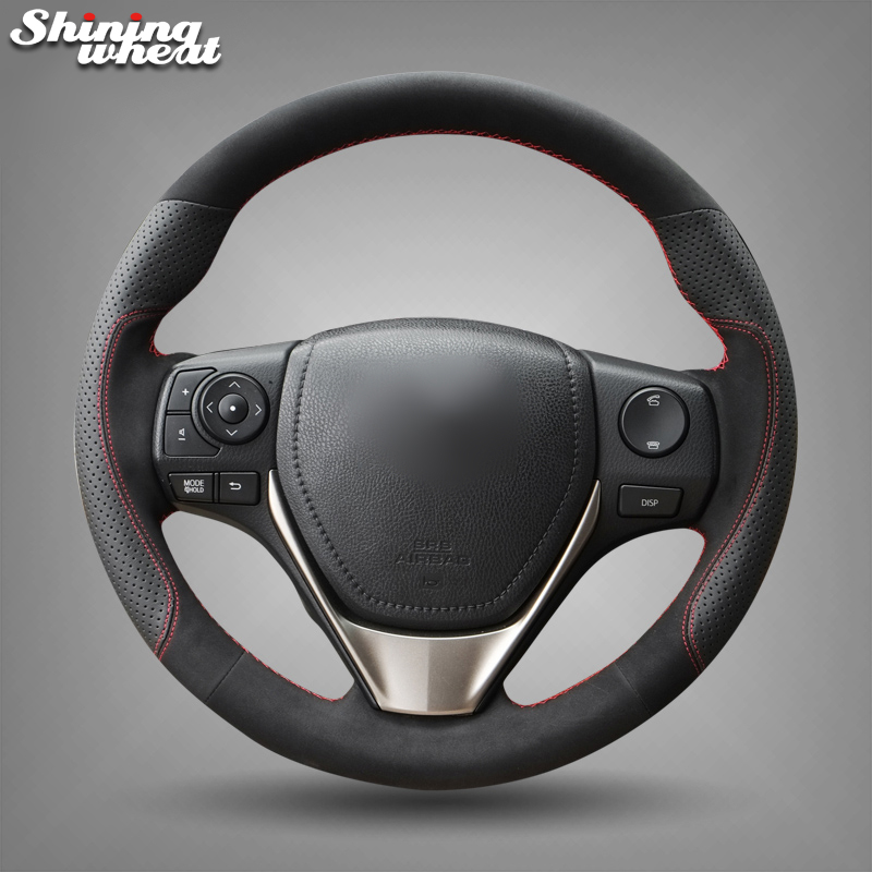 Shining wheat Black Leather Suede Steering Wheel Cover for Toyota RAV4 2013-2017 Corolla 2014-2017 Auris 2013-2016 Scion iM 2016