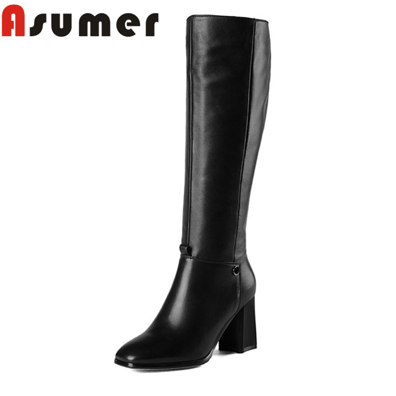 ASUMER 2018 NEW classic black lady mid calf boots square toe adult winter boots high heels high quality pu+genuine leather boots