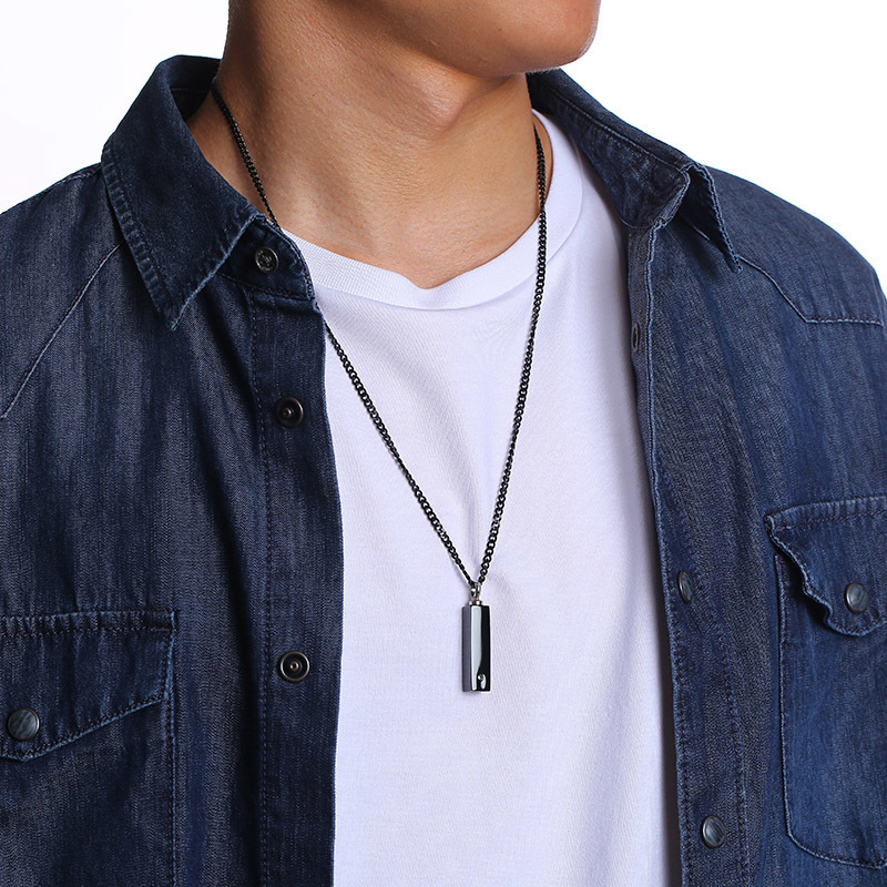 Stainless Steel Vertical Bar Pendant Necklace