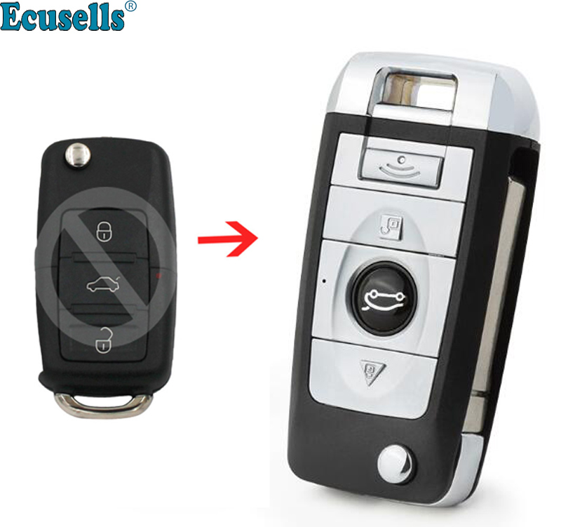 New 3 Buttons Modified Flip Remote Key Shell Case For VW Passat Lavida Polo Bora Sagitar Fob Key Cover With Battery Holder